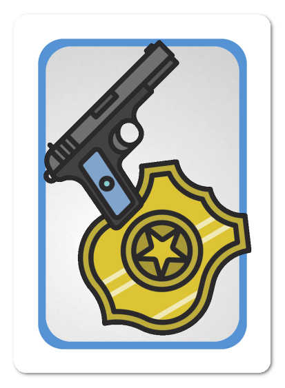 The back of a Good Cop Bear Cop ID card, showing a badge and gun