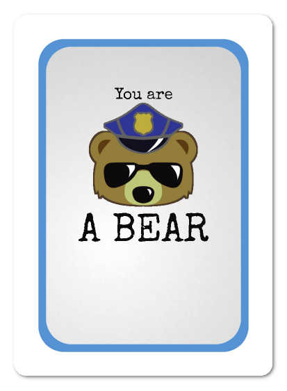 The front of a Good Cop, Bear Cop ID card, showing text anbd image indicating the player is a bear