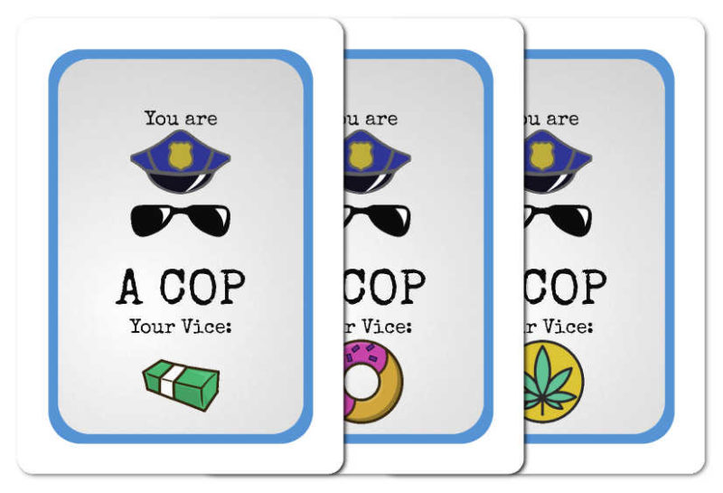 Possible non-bear faces of a Good Cop, Bear Cop ID card, showing the possible vices (bribery, laziness and gardening)