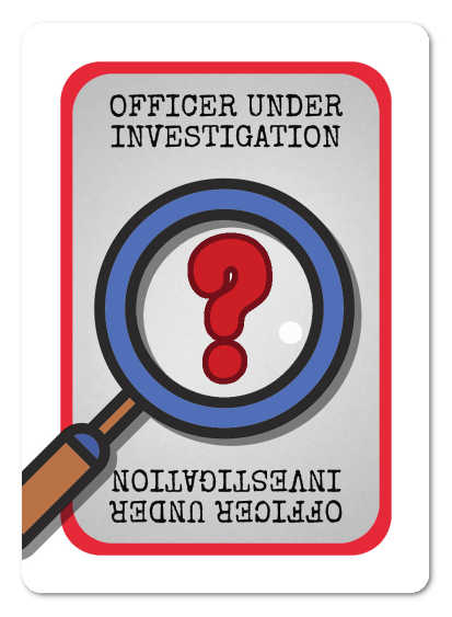The rear (generic) face of a  Good Cop, Bear Cop Internal Affairs investigation card
