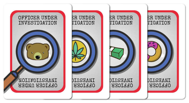 Potential front faces of Good Cop, Bear Cop Internal Affairs investigation card, each one showing what the player is being investigated for