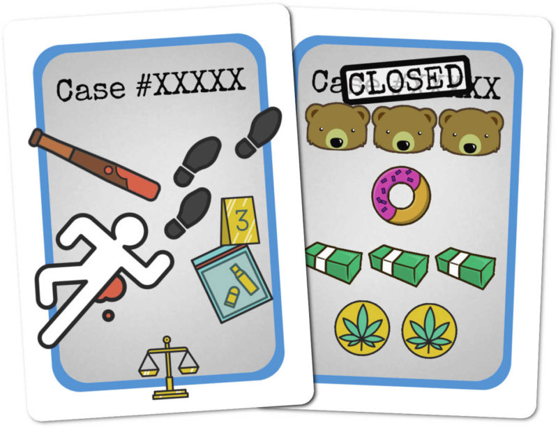 Example Good Cop, Bear Cop case cards. The rear face has a generic back indicating it's a Case card, while the front face shows the points scored by different players when the case is solved.