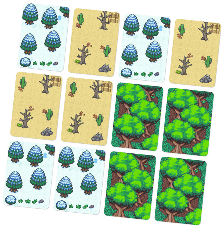 Domains of Meh cards arranged into a 4x3 grid to form the map