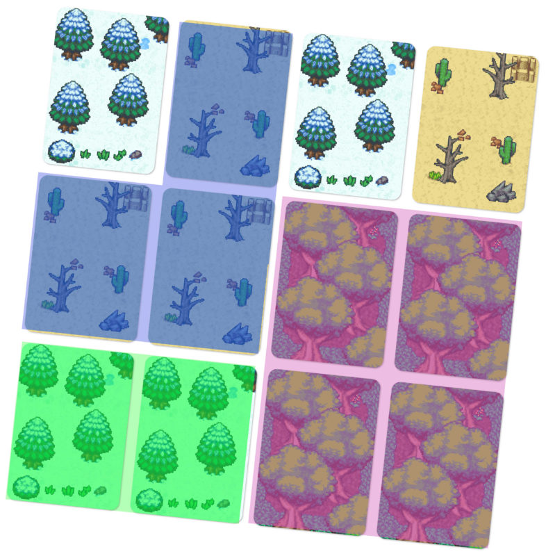 Domains of Meh cards arranged into a 4x3 grid to form the map. Three regions made up of matching adjacent cards are highlighted, showing how territories are formed.
