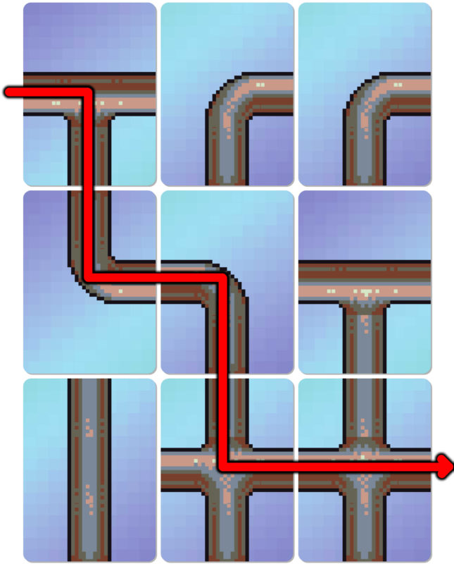 Downspout cards showing a connected path through one player's grid