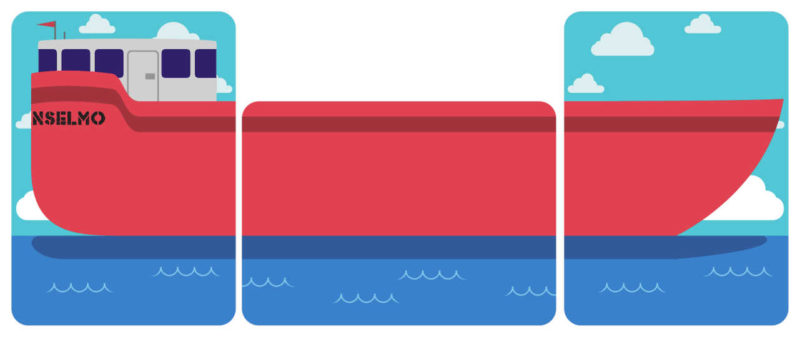 Freight Expectations ship made from the left, middle and right boat cards