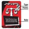 Example of a Hook Line & Sinker card indicating different game rule fields