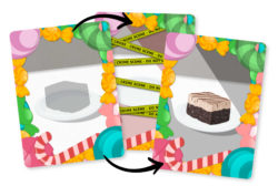 A Pie Crimes cake card, showing the cardback and the two possible fronts