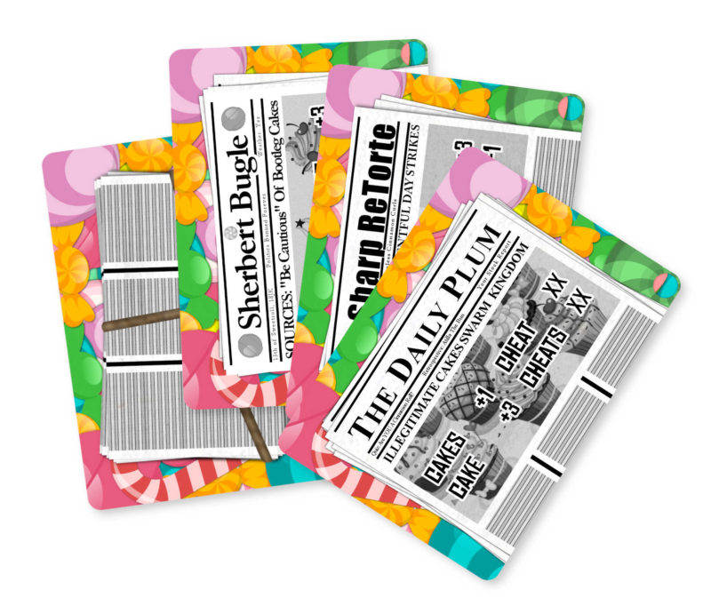 Pie Crimes newspaper cards showing the cardback and three possible fronts