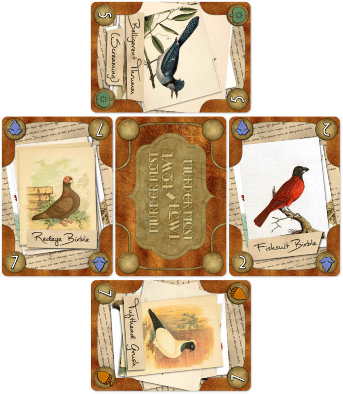 Cards arranged for a four-player game of Murder Most Fowl