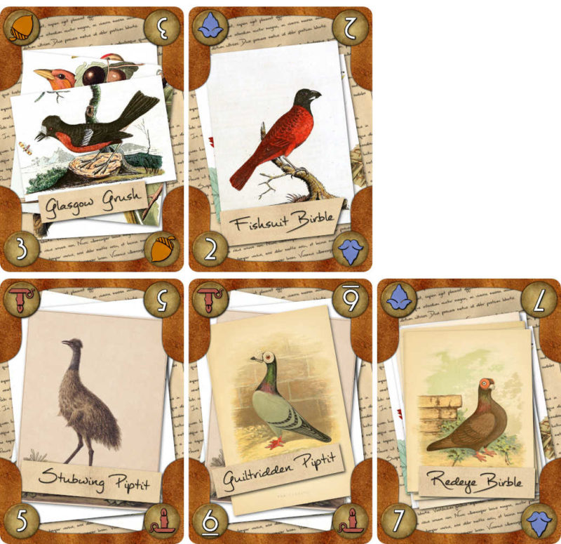 Murder Most Fowl cards arranged in one player's play area