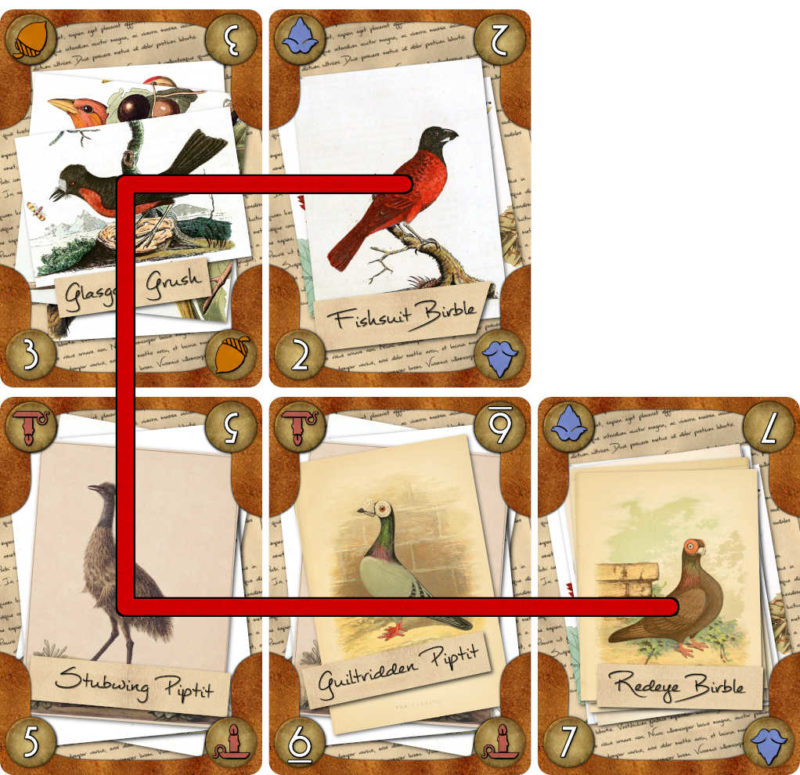 Murder Most Fowl cards showing a legal path